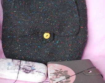 Black speckled hand knit fains flap bag