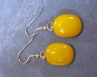 Orange Earrings, Pierced Dangle Earrings, Hypoallergenic, Fused Glass Jewelry, Tangerine Orange, Ear Jewelry - Trixie - 1794 -3