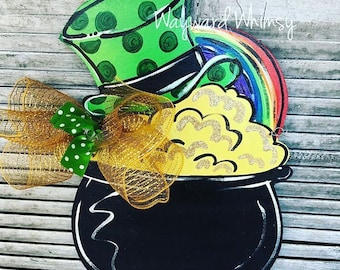 St. Patrick's Day  Pot of Gold Wood Cut Out Door Hanger