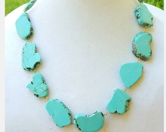 Short Turquoise Statement Necklace - Turquoise Jewelry - Stone Statement Necklace