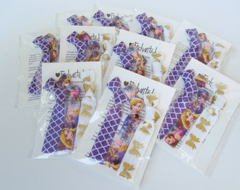 Rapunzel Inspired Birthday Party Pack for 10,15,20,25,30 Guests Soft Elastic Hair Ties, Party Favor, Goody Bag, Tangled, Bows, Purple