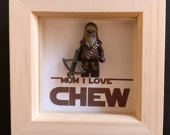 Lego inspired Star Wars Chewbacca minifigure Mother's Day framed art