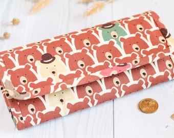 Brown Wallet Long Wallet Women Vegan Wallet for Gift Women Cotton Wallet Women Fabric Wallet Handmade Hippie Style Hipster Bears