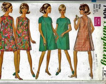 Vintage 1960's Simplicity 7484 Mini Wrap Dress Sewing Pattern Size 10 Bust 32.5