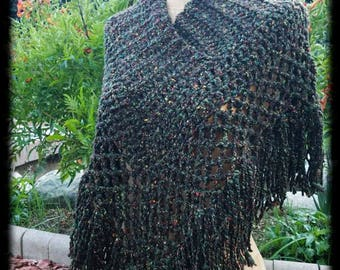 Hand Crocheted Silk and Wool Blend Cross collared Shawl Capelet Poncho by Wildling Art Woman sized Medium