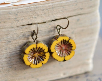 Bright Yellow Antique Earrings / Czech Glass Beads / Brass / Neo Vintage Jewelry
