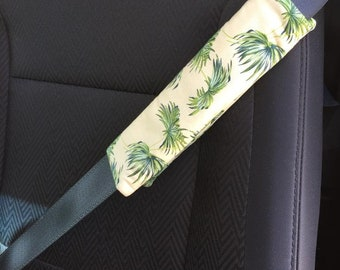 Adult Seat Belt Cover Padded with Palm Trees, Seat Belt Strap Cover Padded with Palm Trees