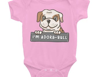 Cute Baby Shower Gift Baby one-piece For Dog Lovers I'm Adora-Bull Adorable Bulldog Infant Bodysuit