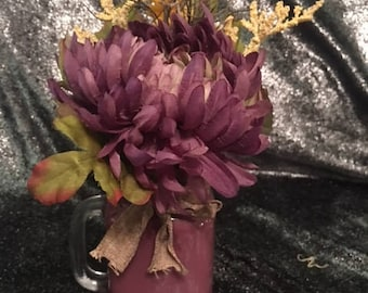 Purple Floral Arrangement in Purple painted Mason Jar