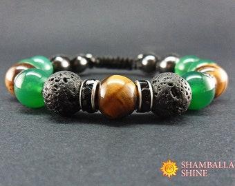 Green gemstone bracelet Meditation stone jewelry Green black bracelet Natural stone beads bracelet Unisex jewelry gift Nephrite jewelry