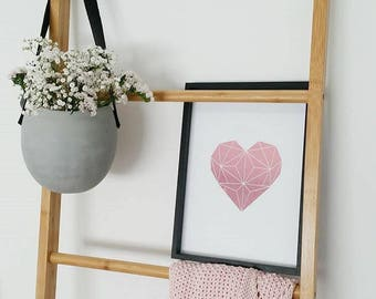 Real Foil Print- Solid Geometric Heart- Wall Art- Home Decor