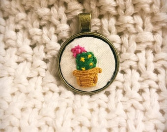 Embroidered cactus necklace