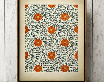 CHINESE GRAPHIC ART Print, Elegant Blue and orange Floral Chinese Design Poster, Chinese Drawing, Exotic Art, Floral Pattern, Floral Art