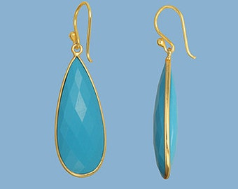 Long Teardrop Turquoise Gold Dangle Earrings