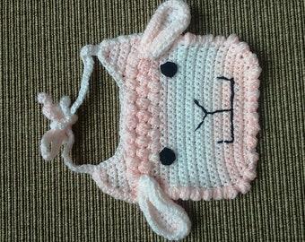 Beautiful pink and white sheep baby bib