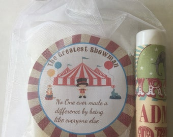 Baby shower favor/ Birthday favor/ greatest showman/ circus favor/soap and lip balm Favor /10 favors