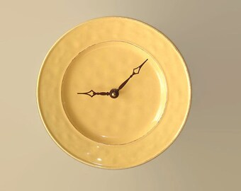 SILENT Mango Wall Clock, 8-1/2 Inch Farmhouse Pottery Wall Clock, Kitchen Wall Clock, Plate Clock, Unique Wall Clock, Warm Yellow Clock 2133