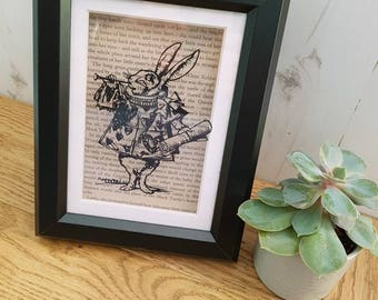White Rabbit - Alice's Adventures In Wonderland - Papercut - Handcut and Framed -