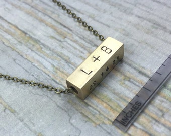 5x20mm Brass Personalized 4 Sided Square Tube Bar Necklace, Hand Stamped Four Sides Horizontal Pendant, Kids Names Bar, Initials Bar Jewelry