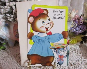 Vintage Retro Mid Century Greeting Card-Bear-Unused-Children's