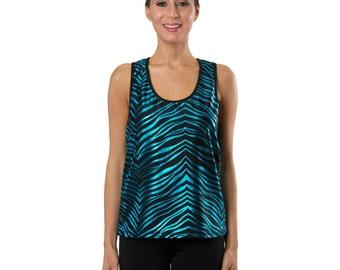 Workout Fashion Women's Black/Turquoise Zebra Tank Top