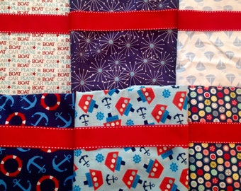 Made to Order - Design Your Own Set of Nautical Christmas Stockings in Navy, Red, White and Blue