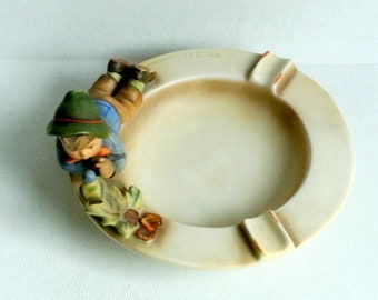 Vintage 1960s Goebel Hummel Ashtray Boy Talking to Bird Collectible Figurine Candy Coin Jewelry Dish Cache