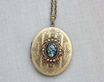 Green Fire Opal Locket Necklace in Antique Brass
