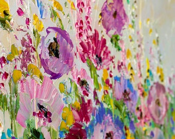 Original Oil Paintings Colorful Flowers Landscape Palette Knife Pastosy Paintings Canvas Impasto Stretched Marina Matkina Artist Home Decor