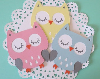"""3"""" Owl Cut Outs - Owl Die Cut - Birthday Party - Baby Shower Owl - Diaper Cake Owls - Centerpiece Owls"""