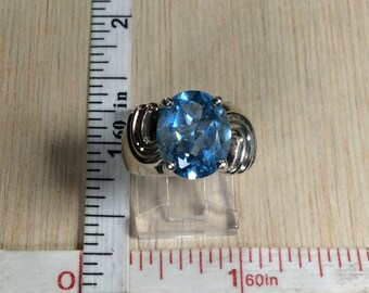 925 Sterling Silver 5.3g Ring Size 5 Blue CZ Signed NV Used