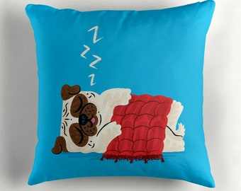 "Pug In A Rug - cyan - pugs / dogs - Throw Pillow / Cushion Cover (16"" x 16"") by Oliver Lake / iOTA iLLUSTRATION"