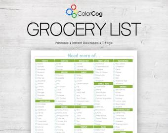 Grocery List Printable PDF Green Boxy