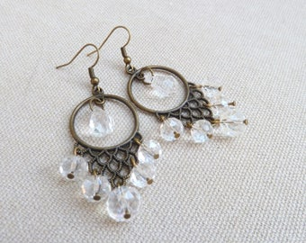 Chandelier Earrings in bronze and faceted beads
