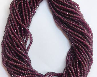 Natural Pink Rhodolite Garnet 2MM to 4.5MM AA Quality Facted Rondelle Beads 13 Inch Strand Loose Gemstone