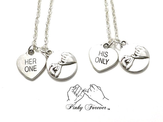 2 her one his only pinky promise necklaces bride groom aloadofball Choice Image