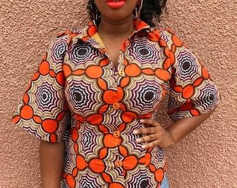 African Print Kimono Button Down