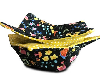 Microwave Bowl Cozy - Quilted Floral and Polka Dots Fabric With Two Layers of Batting - Reversible