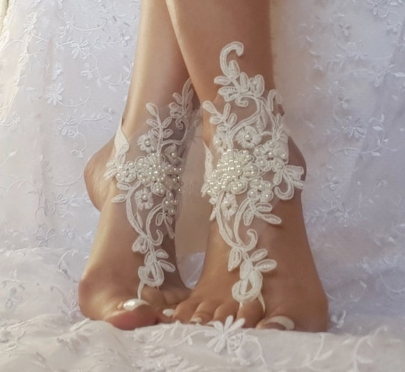 ivory Beach wedding barefoot sandals wedding shoes prom party steampunk bangle beach anklets bangles brid bridesmaid gift
