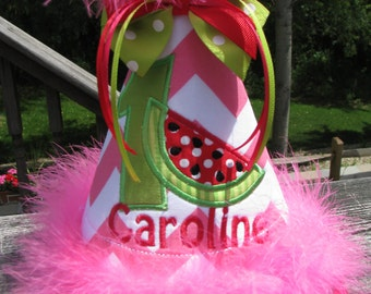 watermelon  birthday hat, smash cake hat, 1st bithday hat ,chevron birthday hat, picture birthday hat, pink and red watermelon party hat