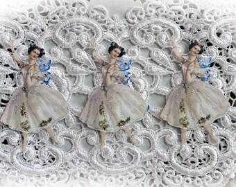 Reneabouquets Vintage Fairy Ballerina Premium Paper Die Cut Set, Die Cuts