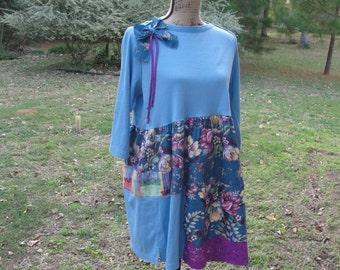 Boho clothing, boho dress, boho tunic, recycled women's clothing, upcycled, bohemian tunic, bohemian clothing, Size M-L,