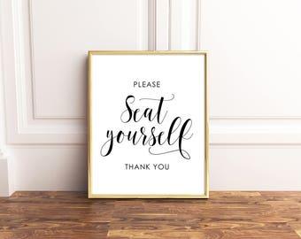 Please seat Yourself Sign, Bathroom Printable, Bathroom Wall Decor, Bathroom Sign, Instant Download Printable Art, Funny bathroom art