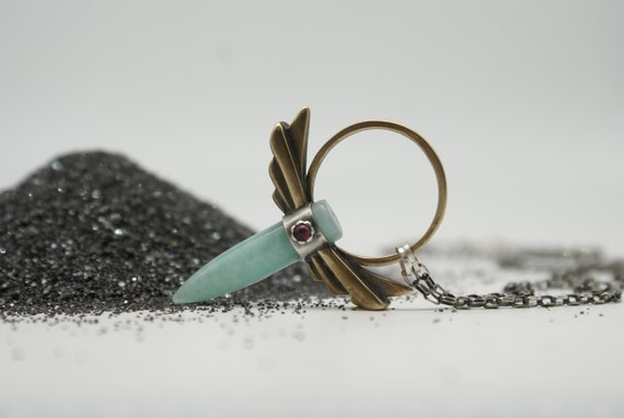 Winged Halo pendant - Bronze and Silver with Amazonite and Garnet