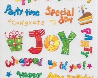 Rub On's -- Craft n Craftin' Brand - Birthday Rub On's -- NEW -- Self Adhesive Rub Ons -- (#1568)