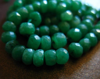 EMERALD RONDELLES Beads / Luxe AAA / 3-4 mm / 5 - 50 pieces / Kelly Green / May birthstone / brides / bridal / true solo