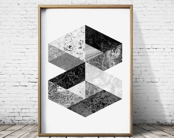 Digital Download Print Hexagon Art Hexagon Print Wall Art Prints Mountain Print