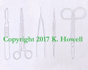 Instruments Hand Embroidery Pattern, Surgical Tools, Medical Equipment, Scalpel, Hemostat, Tweezers, Probe, Scissors, Surgery, Doctor,PDF