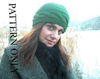 Knitting PATTERN  Women  Hat  Instant Download Knitting Digital PDF - Cable Knit Cloche Hat Knitting  Pattern