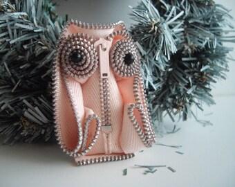 Pink Owl Zipper Statement Brooch Corsage Wearable Zipper Art Collectible Seen At Martha Stewart Wedding Party by handcraftusa